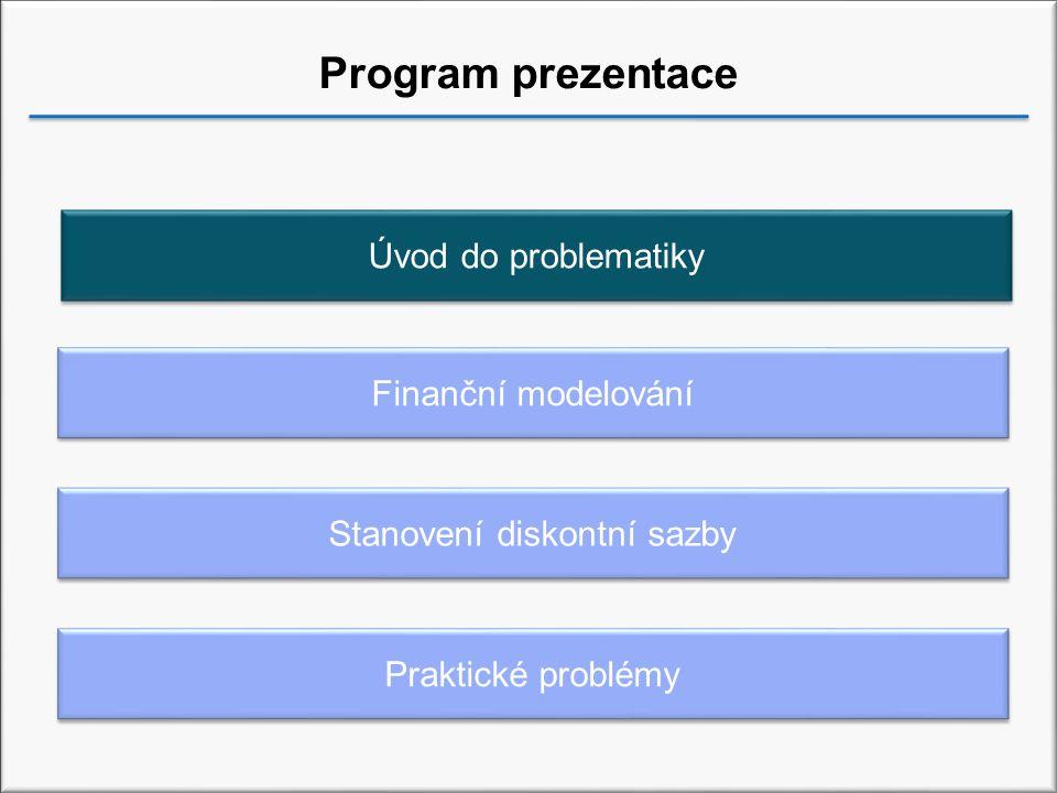 Program prezentace Finanční modelování Praktické problémy Úvod do problematiky Stanovení diskontní sazby