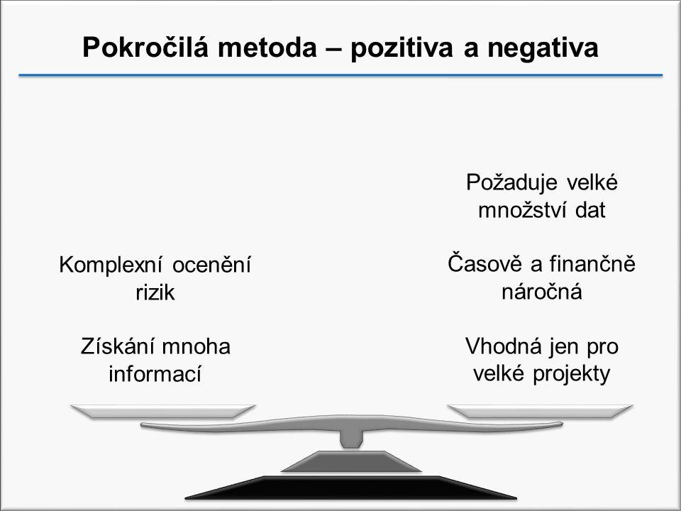 Pokročilá metoda – pozitiva a negativa Komplexní ocenění rizik Získání mnoha informací Požaduje velké množství dat Časově a finančně náročná Vhodná jen pro velké projekty