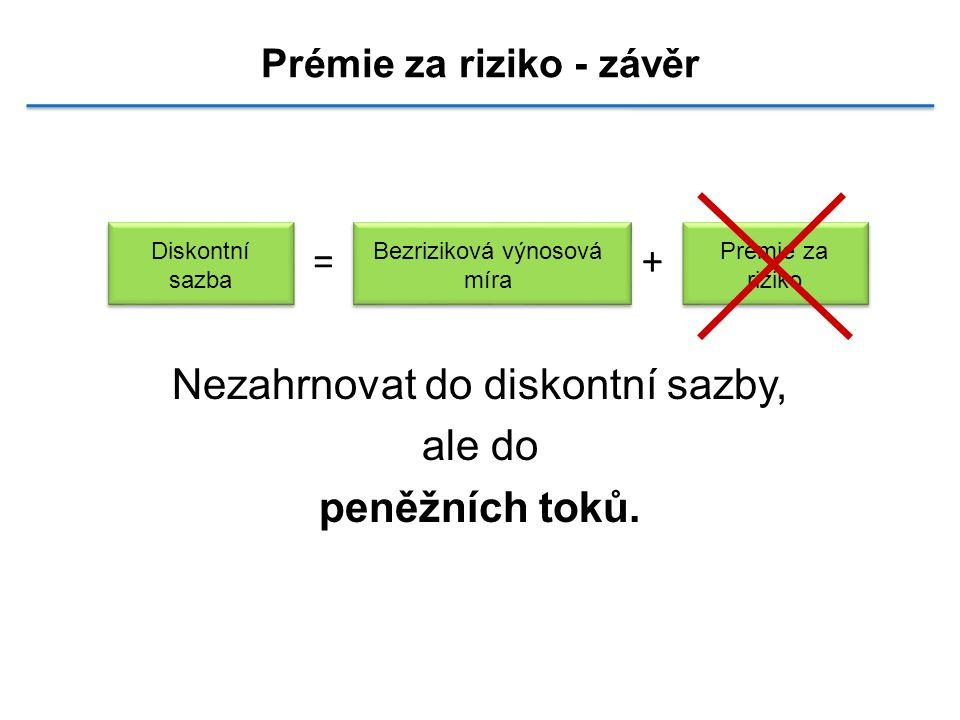 Prémie za riziko - závěr =+ Nezahrnovat do diskontní sazby, ale do peněžních toků.