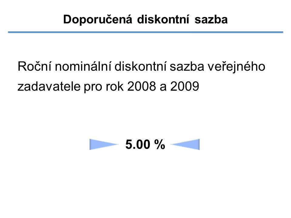 Doporučená diskontní sazba Roční nominální diskontní sazba veřejného zadavatele pro rok 2008 a 2009 5.00 %
