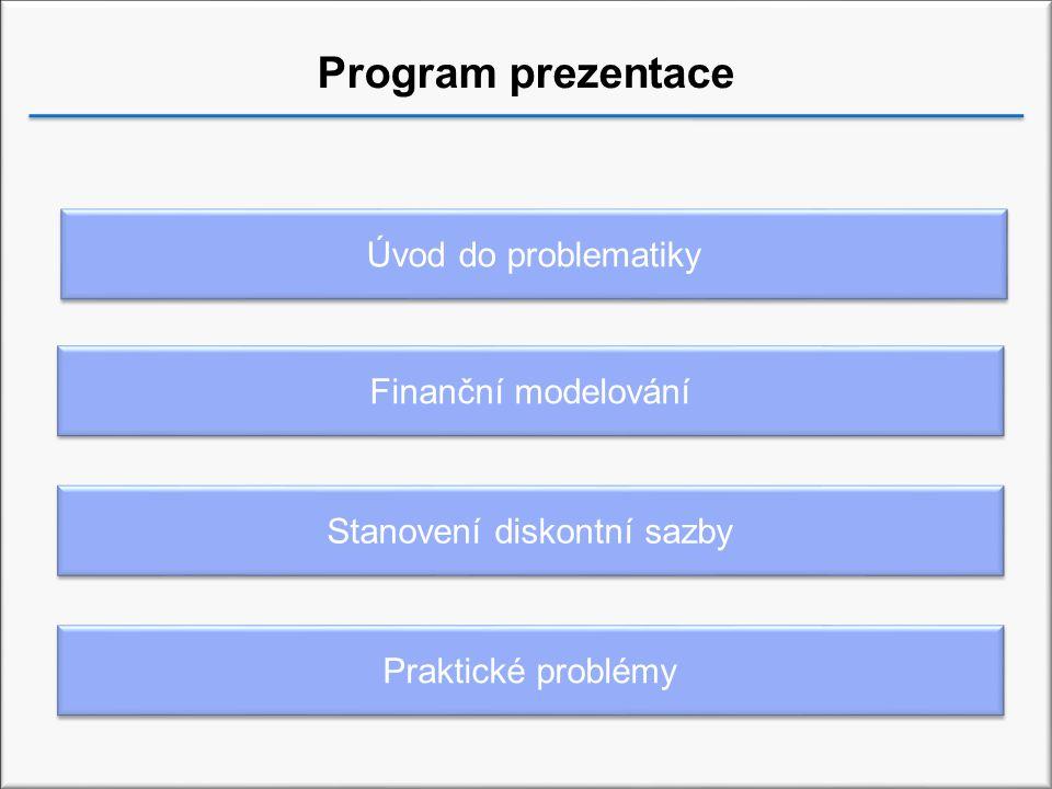 Program prezentace Finanční modelování Stanovení diskontní sazby Praktické problémy Úvod do problematiky