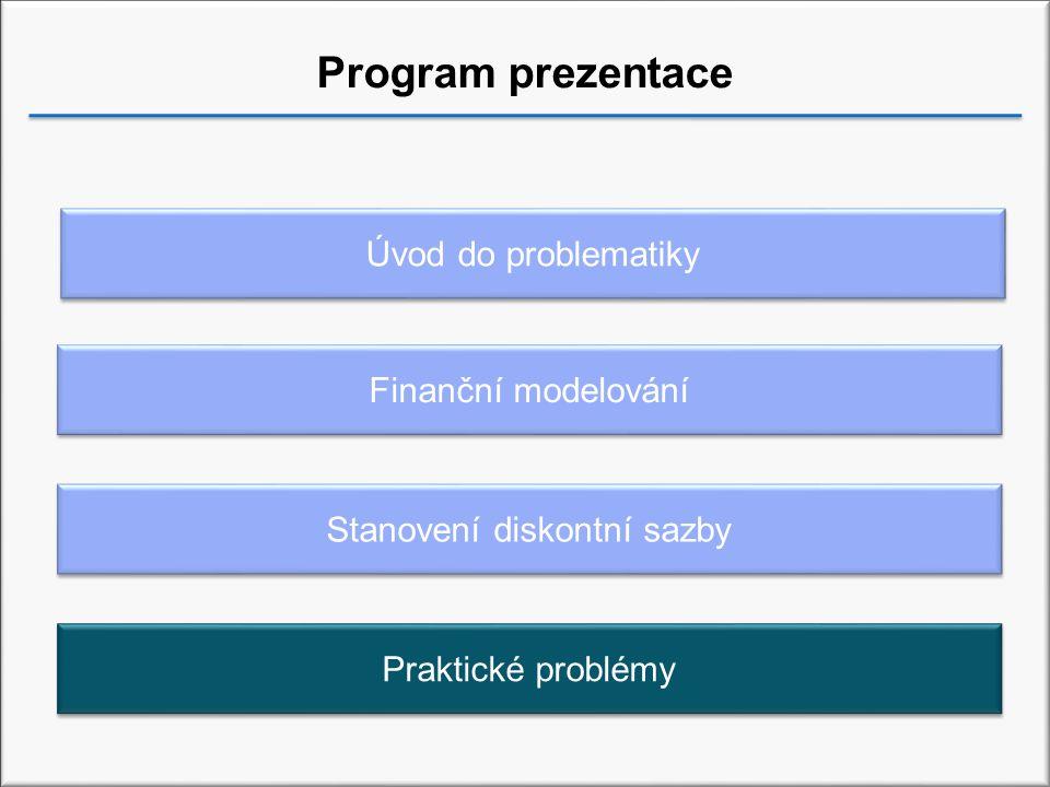 Program prezentace Stanovení diskontní sazby Úvod do problematiky Finanční modelování Praktické problémy