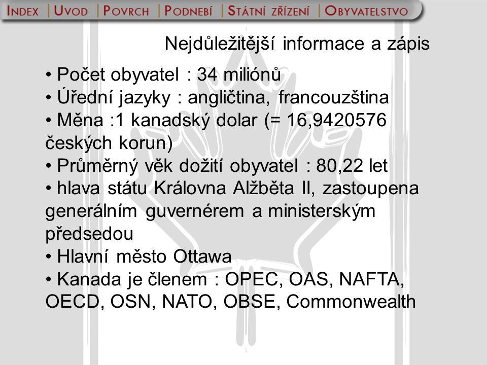 Nejdůležitější informace a zápis Počet obyvatel : 34 miliónů Úřední jazyky : angličtina, francouzština Měna :1 kanadský dolar (= 16,9420576 českých ko