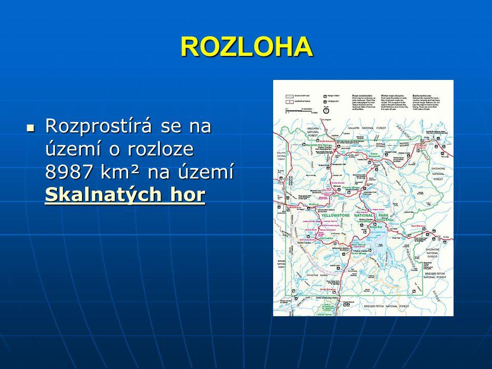 ROZLOHA Rozprostírá se na území o rozloze 8987 km² na území Skalnatých hor Rozprostírá se na území o rozloze 8987 km² na území Skalnatých hor Skalnatý