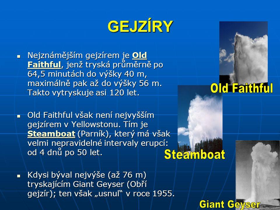 GEJZÍRY Nejznámějším gejzírem je Old Faithful, jenž tryská průměrně po 64,5 minutách do výšky 40 m, maximálně pak až do výšky 56 m. Takto vytryskuje a