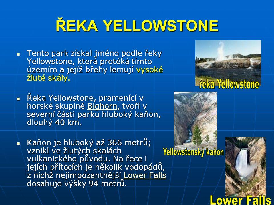 ŘEKA YELLOWSTONE Tento park získal jméno podle řeky Yellowstone, která protéká tímto územím a jejíž břehy lemují vysoké žluté skály. Tento park získal