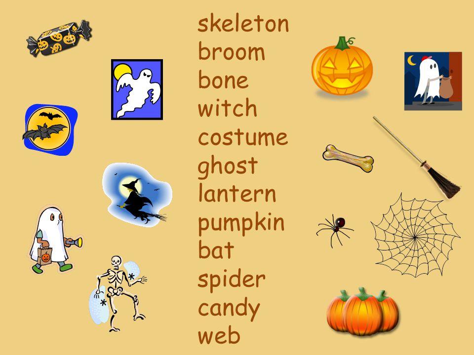 skeleton broom bone witch costume ghost lantern pumpkin bat spider candy web
