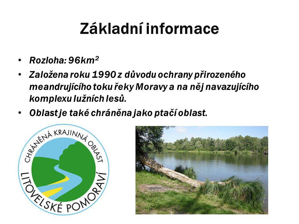 Základní informace Rozloha: 96km 2 Založena roku 1990 z důvodu ochrany přirozeného meandrujícího toku řeky Moravy a na něj navazujícího komplexu lužní