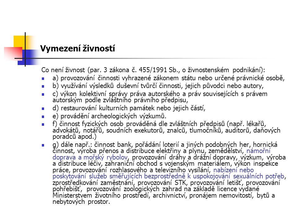 Vymezení živností Co není živnost (par. 3 zákona č. 455/1991 Sb., o živnostenském podnikání): a) provozování činnosti vyhrazené zákonem státu nebo urč
