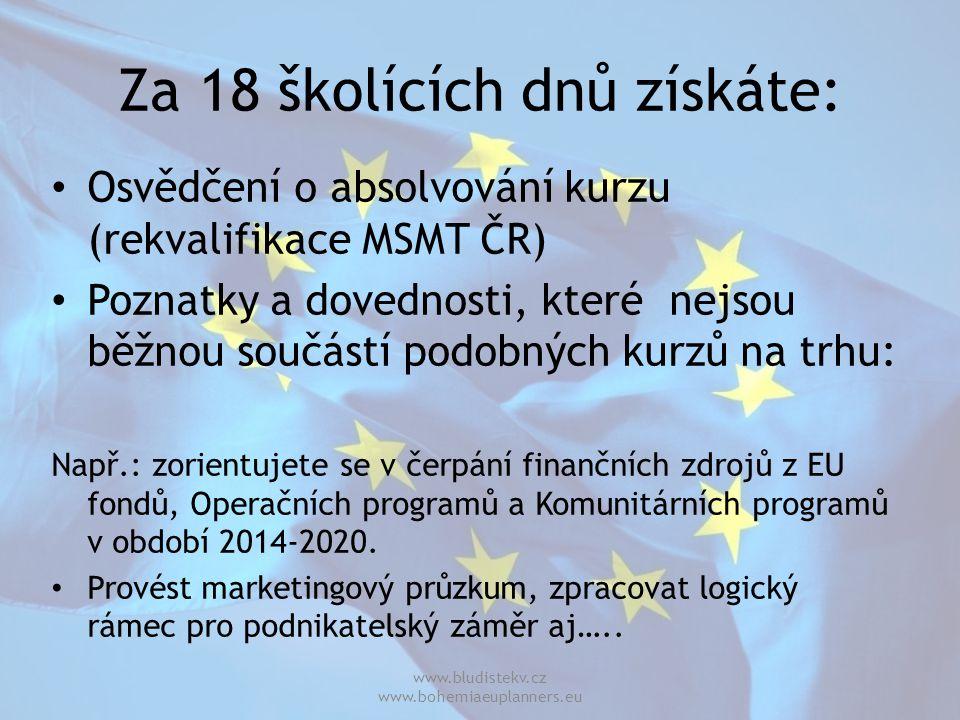 Za 18 školících dnů získáte: Osvědčení o absolvování kurzu (rekvalifikace MSMT ČR) Poznatky a dovednosti, které nejsou běžnou součástí podobných kurzů na trhu: Např.: zorientujete se v čerpání finančních zdrojů z EU fondů, Operačních programů a Komunitárních programů v období 2014-2020.