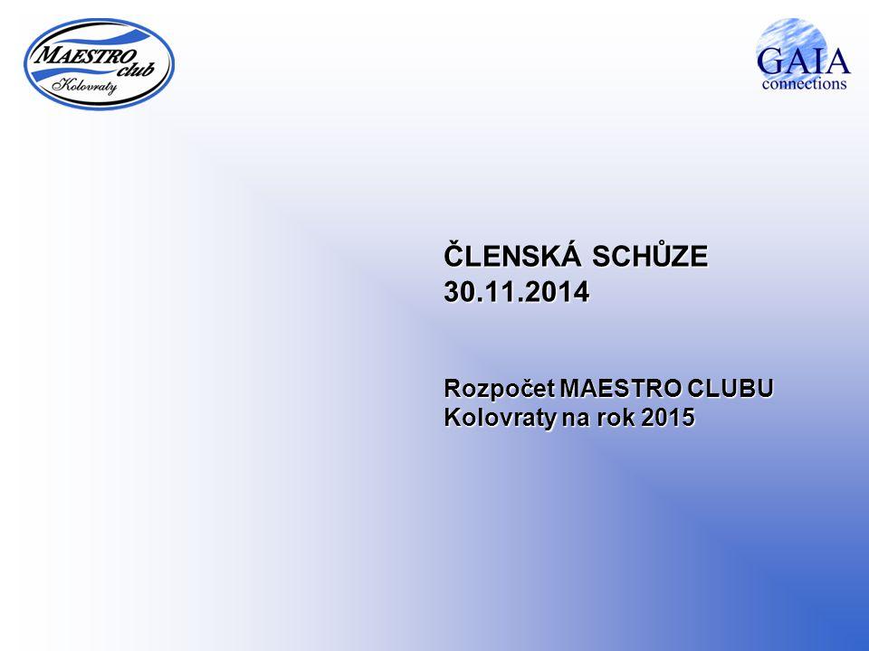 ČLENSKÁ SCHŮZE 30.11.2014 Rozpočet MAESTRO CLUBU Kolovraty na rok 2015