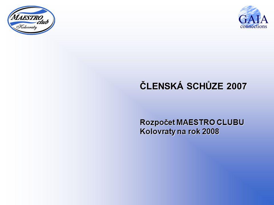ČLENSKÁ SCHŮZE 2007 Rozpočet MAESTRO CLUBU Kolovraty na rok 2008
