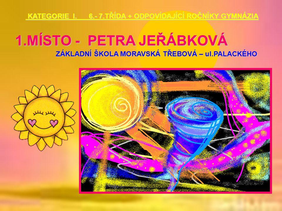 1.MÍSTO - PETRA JEŘÁBKOVÁ ZÁKLADNÍ ŠKOLA MORAVSKÁ TŘEBOVÁ – ul.PALACKÉHO KATEGORIE I. 6.- 7.TŘÍDA + ODPOVÍDAJÍCÍ ROČNÍKY GYMNÁZIA KATEGORIE I. 6.- 7.T