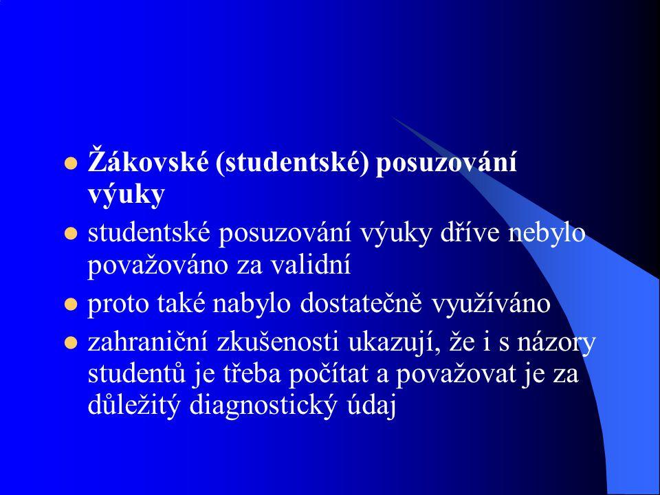 Žákovské (studentské) posuzování výuky studentské posuzování výuky dříve nebylo považováno za validní proto také nabylo dostatečně využíváno zahraničn