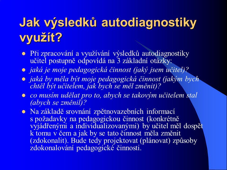 Jak výsledků autodiagnostiky využít? Při zpracování a využívání výsledků autodiagnostiky učitel postupně odpovídá na 3 základní otázky: jaká je moje p