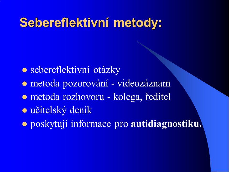 Sebereflektivní metody: sebereflektivní otázky metoda pozorování - videozáznam metoda rozhovoru - kolega, ředitel učitelský deník poskytují informace