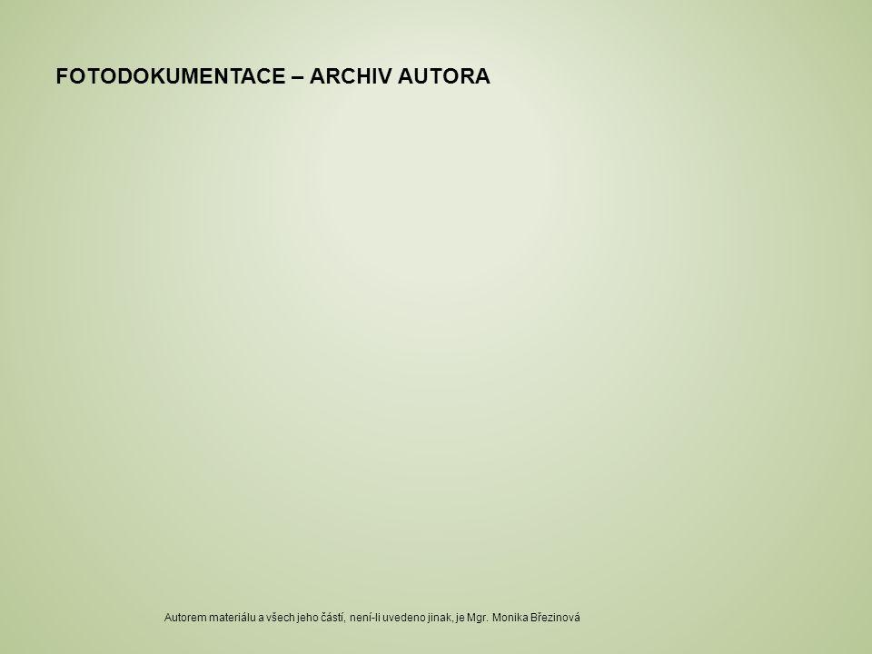 FOTODOKUMENTACE – ARCHIV AUTORA Autorem materiálu a všech jeho částí, není-li uvedeno jinak, je Mgr. Monika Březinová