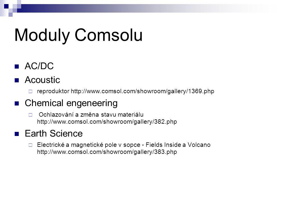 Moduly Comsolu AC/DC Acoustic  reproduktor http://www.comsol.com/showroom/gallery/1369.php Chemical engeneering  Ochlazování a změna stavu materiálu