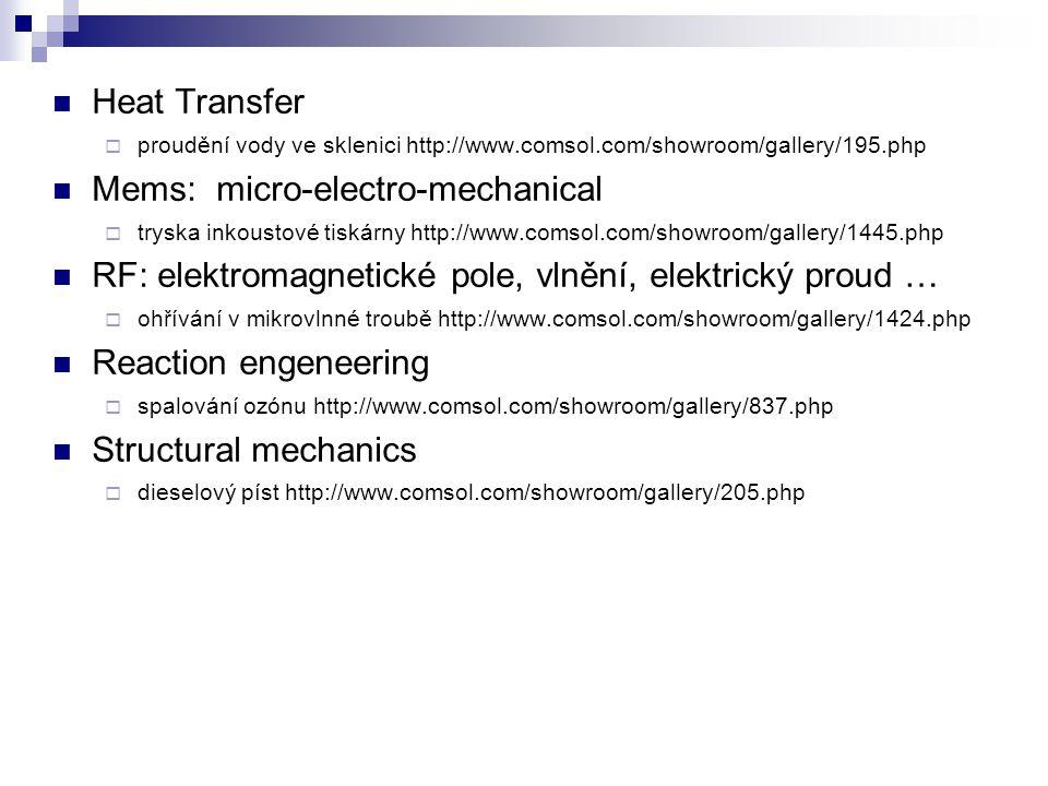 Heat Transfer  proudění vody ve sklenici http://www.comsol.com/showroom/gallery/195.php Mems: micro-electro-mechanical  tryska inkoustové tiskárny http://www.comsol.com/showroom/gallery/1445.php RF: elektromagnetické pole, vlnění, elektrický proud …  ohřívání v mikrovlnné troubě http://www.comsol.com/showroom/gallery/1424.php Reaction engeneering  spalování ozónu http://www.comsol.com/showroom/gallery/837.php Structural mechanics  dieselový píst http://www.comsol.com/showroom/gallery/205.php