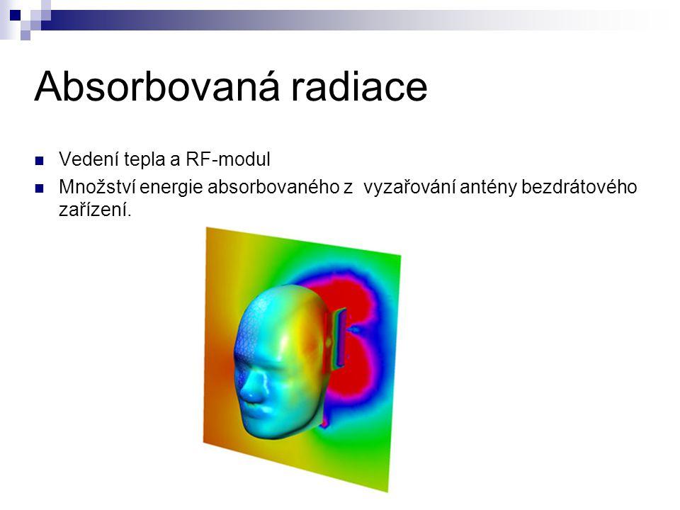 Absorbovaná radiace Vedení tepla a RF-modul Množství energie absorbovaného z vyzařování antény bezdrátového zařízení.