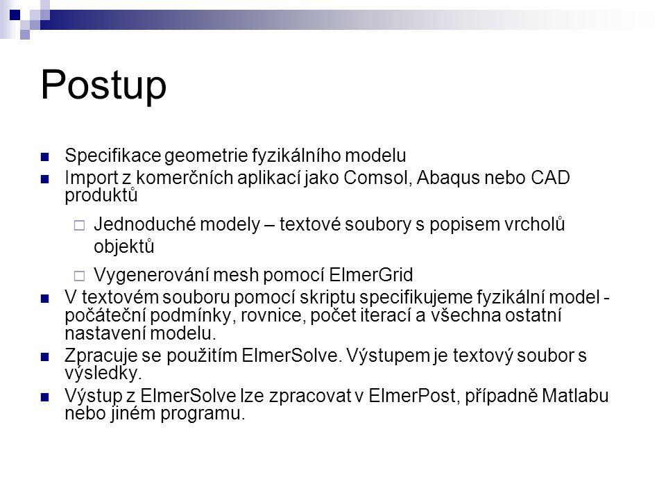 Postup Specifikace geometrie fyzikálního modelu Import z komerčních aplikací jako Comsol, Abaqus nebo CAD produktů  Jednoduché modely – textové soubo