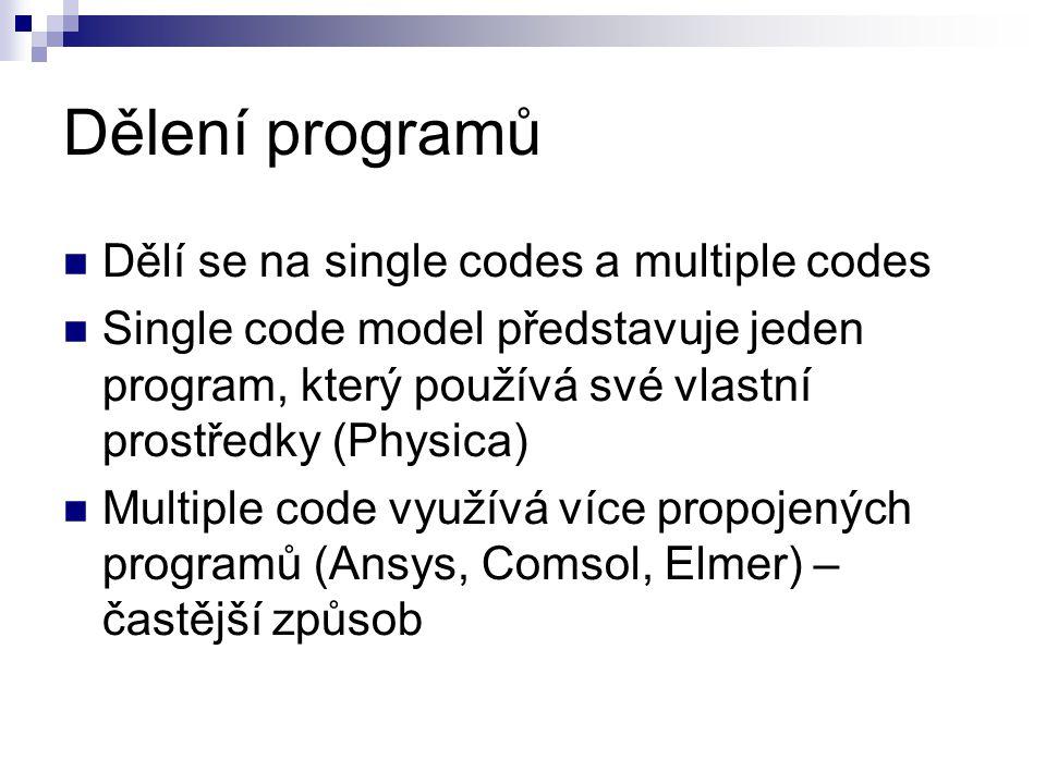 Dělení programů Dělí se na single codes a multiple codes Single code model představuje jeden program, který používá své vlastní prostředky (Physica) Multiple code využívá více propojených programů (Ansys, Comsol, Elmer) – častější způsob