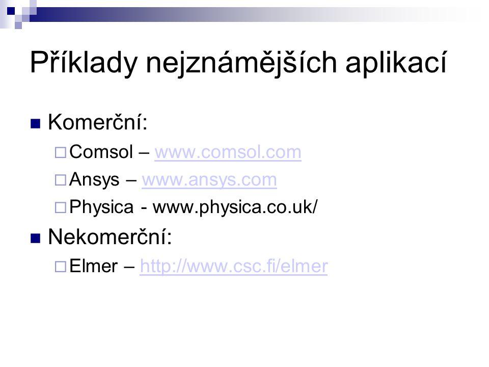 Příklady nejznámějších aplikací Komerční:  Comsol – www.comsol.comwww.comsol.com  Ansys – www.ansys.comwww.ansys.com  Physica - www.physica.co.uk/ Nekomerční:  Elmer – http://www.csc.fi/elmerhttp://www.csc.fi/elmer