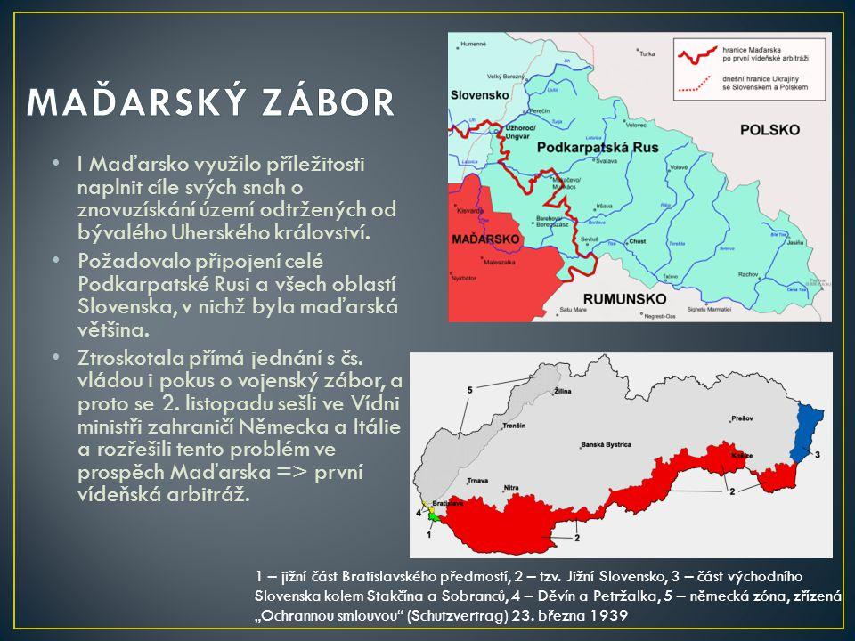 I Maďarsko využilo příležitosti naplnit cíle svých snah o znovuzískání území odtržených od bývalého Uherského království. Požadovalo připojení celé Po