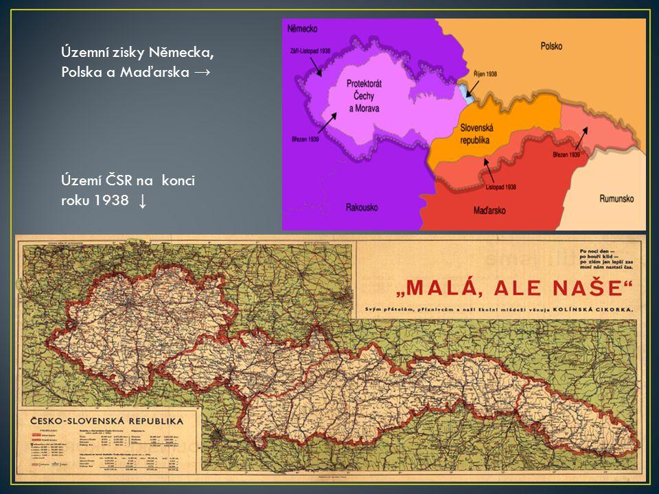 Územní zisky Německa, Polska a Maďarska → Území ČSR na konci roku 1938 ↓