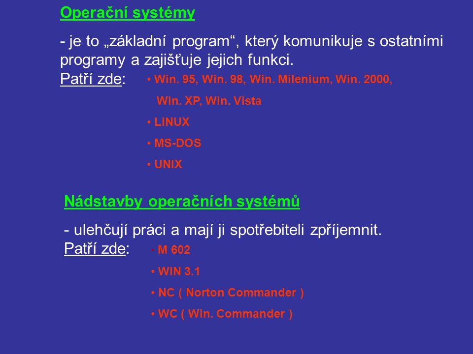 Uživatelské programy - slouží přímo uživateli k jeho práci na počítači.