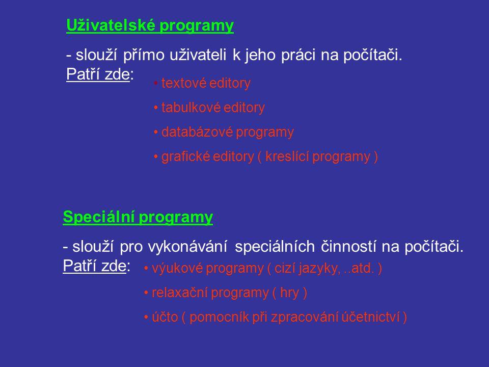 Uživatelské programy - slouží přímo uživateli k jeho práci na počítači. Patří zde: textové editory tabulkové editory databázové programy grafické edit