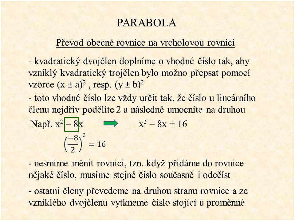 PARABOLA Převod obecné rovnice na vrcholovou rovnici - kvadratický dvojčlen doplníme o vhodné číslo tak, aby vzniklý kvadratický trojčlen bylo možno přepsat pomocí vzorce (x ± a) 2, resp.