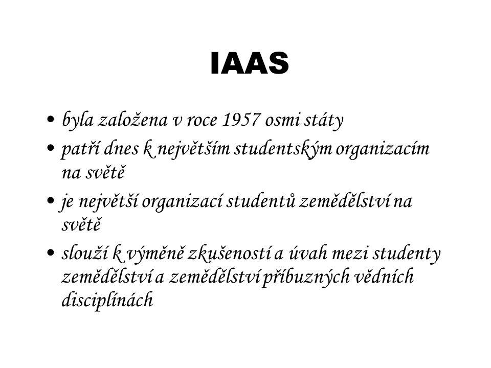 IAAS byla založena v roce 1957 osmi státy patří dnes k největším studentským organizacím na světě je největší organizací studentů zemědělství na světě