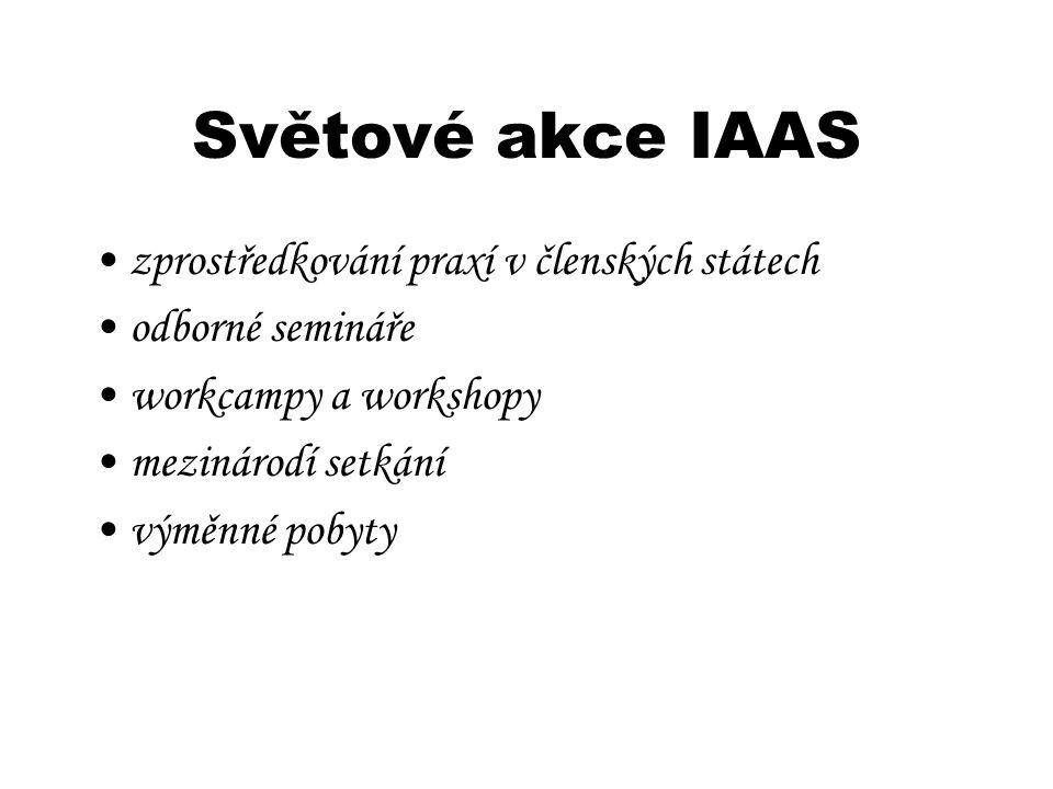 Světové akce IAAS zprostředkování praxí v členských státech odborné semináře workcampy a workshopy mezinárodí setkání výměnné pobyty