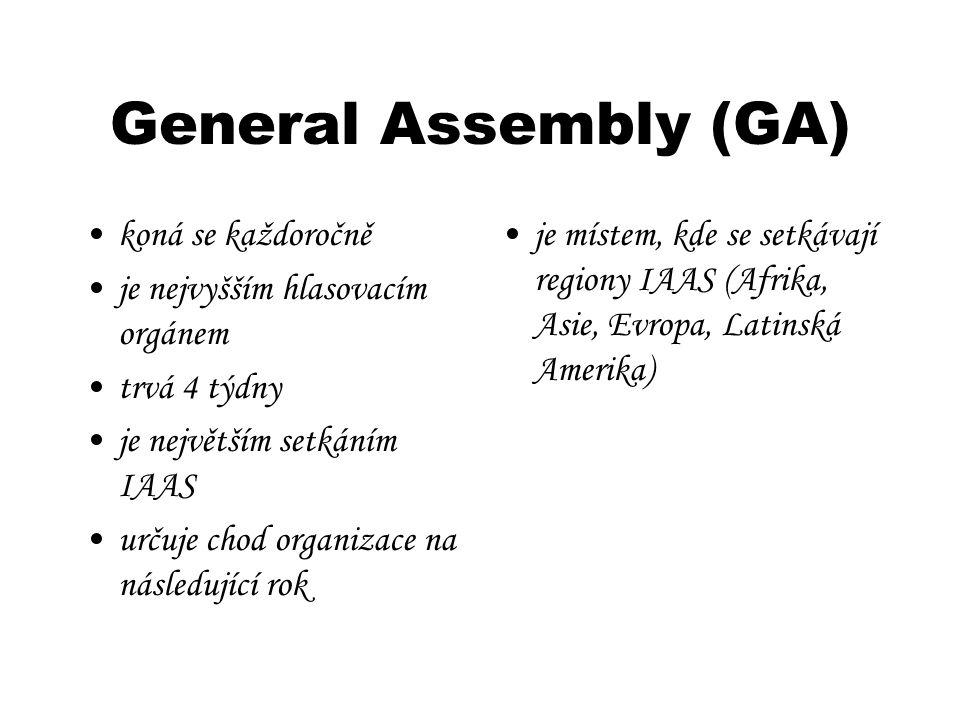 General Assembly (GA) koná se každoročně je nejvyšším hlasovacím orgánem trvá 4 týdny je největším setkáním IAAS určuje chod organizace na následující