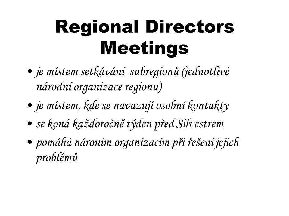 Regional Directors Meetings je místem setkávání subregionů (jednotlivé národní organizace regionu) je místem, kde se navazují osobní kontakty se koná