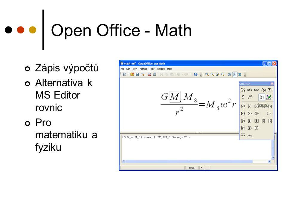 Open Office - Math Zápis výpočtů Alternativa k MS Editor rovnic Pro matematiku a fyziku