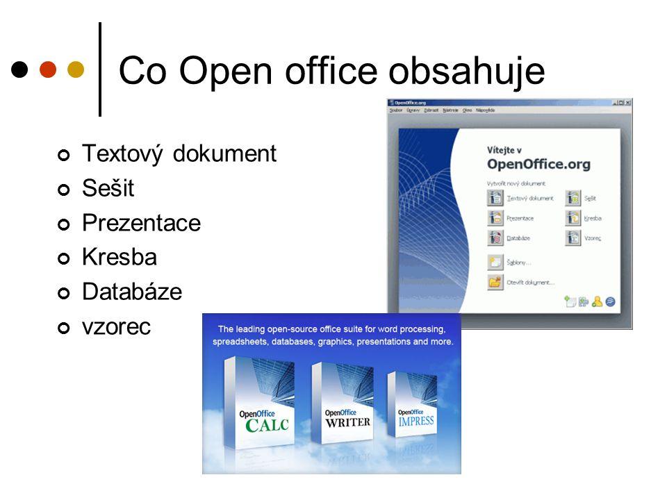 Co Open office obsahuje Textový dokument Sešit Prezentace Kresba Databáze vzorec