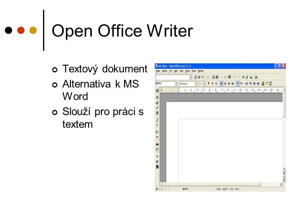 Open Office Writer Textový dokument Alternativa k MS Word Slouží pro práci s textem