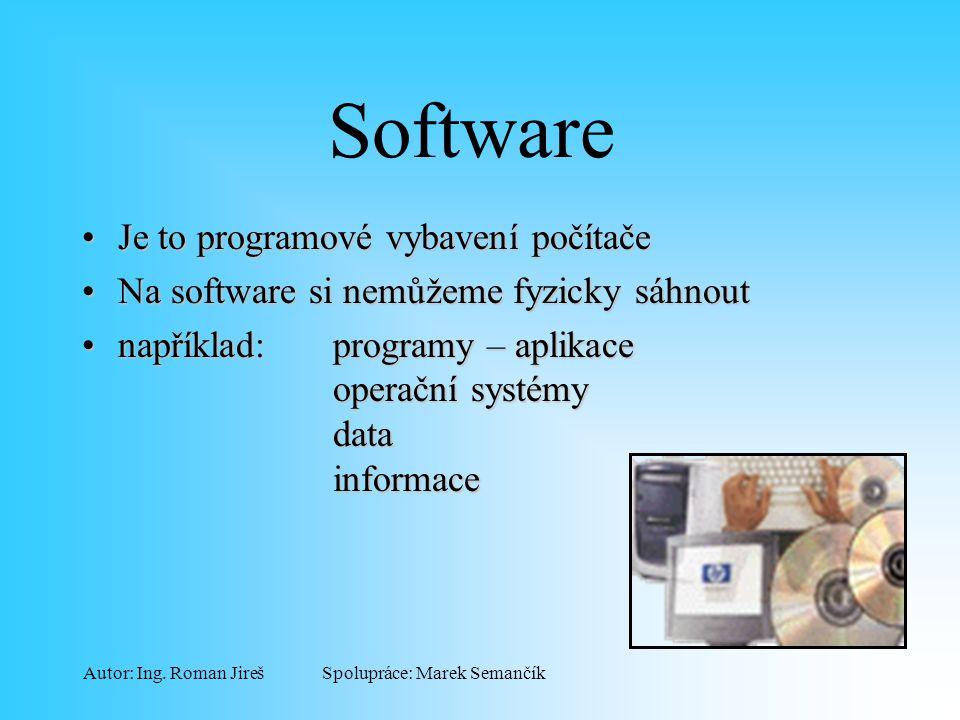 Spolupráce: Marek SemančíkAutor: Ing. Roman Jireš Software Je to programové vybavení počítačeJe to programové vybavení počítače Na software si nemůžem