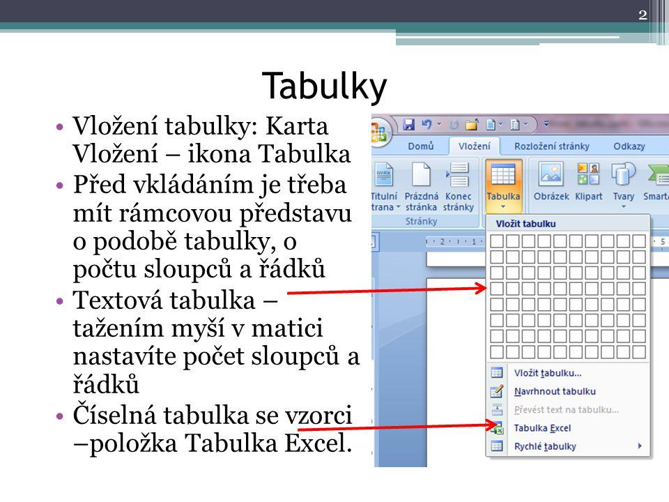 Tabulky Vložení tabulky: Karta Vložení – ikona Tabulka Před vkládáním je třeba mít rámcovou představu o podobě tabulky, o počtu sloupců a řádků Textov