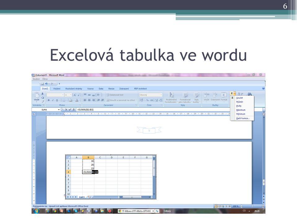Excelová tabulka ve wordu 6