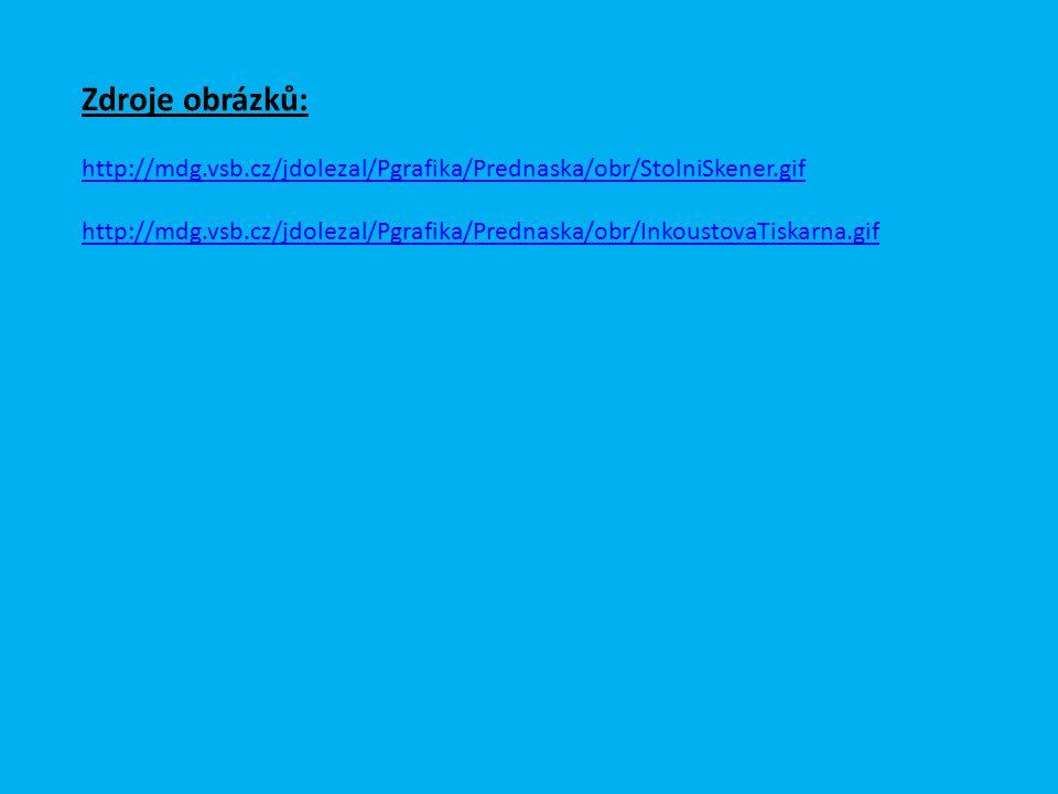 Zdroje obrázků: http://mdg.vsb.cz/jdolezal/Pgrafika/Prednaska/obr/StolniSkener.gif http://mdg.vsb.cz/jdolezal/Pgrafika/Prednaska/obr/InkoustovaTiskarn