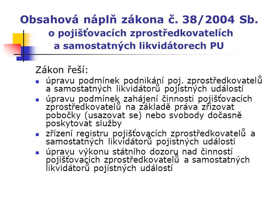 Obsahová náplň zákona č. 38/2004 Sb. o pojišťovacích zprostředkovatelích a samostatných likvidátorech PU Zákon řeší: úpravu podmínek podnikání poj. zp