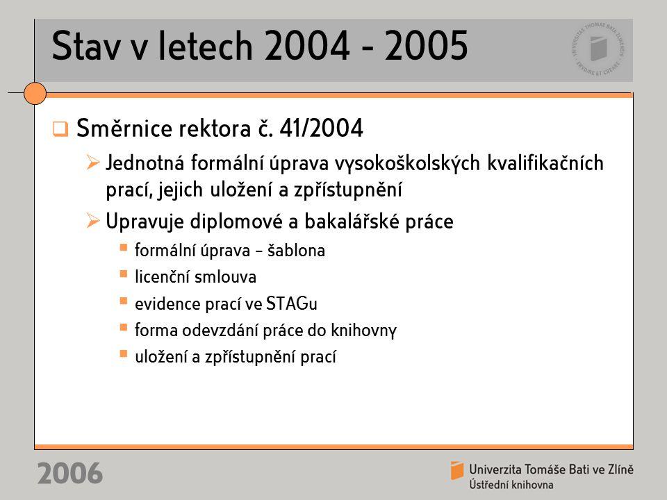 2006 Stav v letech 2004 - 2005  Směrnice rektora č.