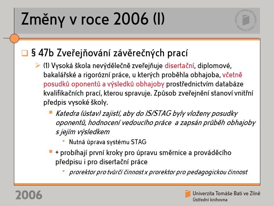 2006 Změny v roce 2006 (I)  § 47b Zveřejňování závěrečných prací  (1) Vysoká škola nevýdělečně zveřejňuje disertační, diplomové, bakalářské a rigorózní práce, u kterých proběhla obhajoba, včetně posudků oponentů a výsledků obhajoby prostřednictvím databáze kvalifikačních prací, kterou spravuje.