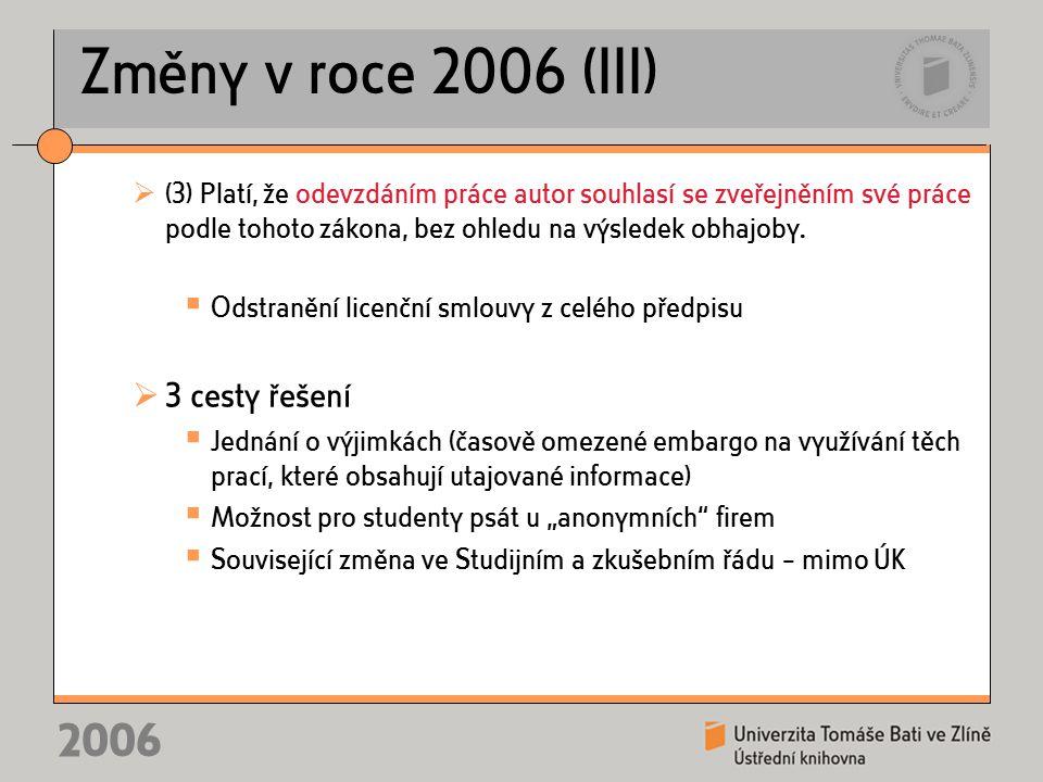 2006 Změny v roce 2006 (III)  (3) Platí, že odevzdáním práce autor souhlasí se zveřejněním své práce podle tohoto zákona, bez ohledu na výsledek obhajoby.
