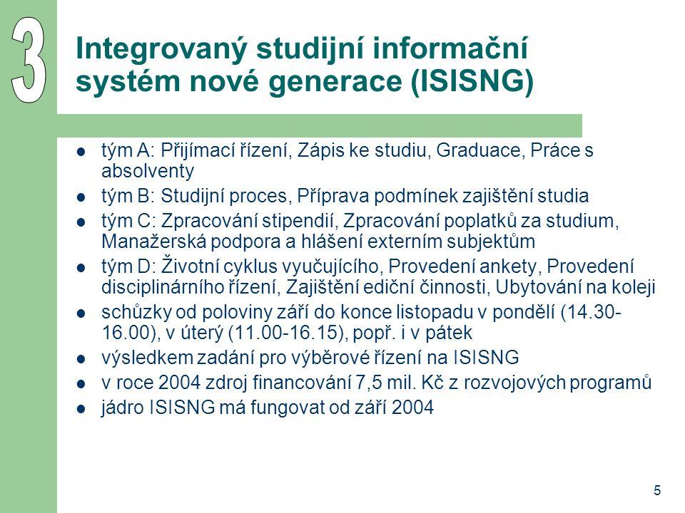 5 Integrovaný studijní informační systém nové generace (ISISNG) tým A: Přijímací řízení, Zápis ke studiu, Graduace, Práce s absolventy tým B: Studijní proces, Příprava podmínek zajištění studia tým C: Zpracování stipendií, Zpracování poplatků za studium, Manažerská podpora a hlášení externím subjektům tým D: Životní cyklus vyučujícího, Provedení ankety, Provedení disciplinárního řízení, Zajištění ediční činnosti, Ubytování na koleji schůzky od poloviny září do konce listopadu v pondělí (14.30- 16.00), v úterý (11.00-16.15), popř.