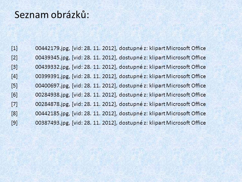 Seznam obrázků: [1]00442179.jpg, [vid: 28. 11. 2012], dostupné z: klipart Microsoft Office [2]00439345.jpg, [vid: 28. 11. 2012], dostupné z: klipart M
