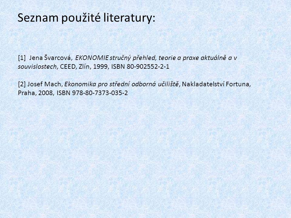 Seznam použité literatury: [1] Jena Švarcová, EKONOMIE stručný přehled, teorie a praxe aktuálně a v souvislostech, CEED, Zlín, 1999, ISBN 80-902552-2-